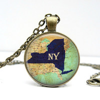 New York State Necklace : NY State Necklace. State Jewelry. New York Jewelry. Custom State Necklace. Handmade Jewelry. Lizabettas
