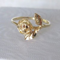 14k Solid Gold Vintage Rose Beauty and the Beast flower pinky or midi ring band