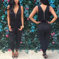 LOW-CUT ZIPPER JUMPSUITS