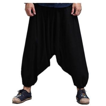 2017 Men Spring Summer Bloomers Male Casual Travel Harem Pants Fluid Big Crotch Pants Indian Nepal Baggy Pants 71907