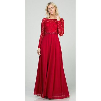 Long Sleeved Lace Bodice A-Line Long Formal Dress Red
