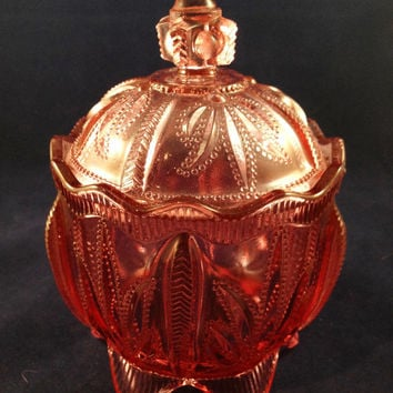 Fenton Pink Leaf Depression Glass Candy Dish, Fenton Candy Dish