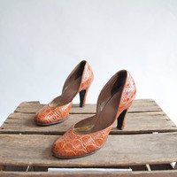 Vintage 50s D'Orsay Pumps / Croco Pumps / 1950s Heels / Shoes 7 / Alligator Heels