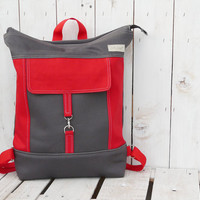 Canvas Backpack tote Unisex Grey Red Laptop bag Zip top backpack