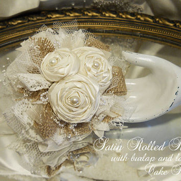 Satin Rolled Roses Cake Topper Flower Pick, with burlap and lace, handmade, one of a kind and ready to ship.