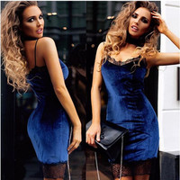 Patchwork Women's Fashion Sexy Backless Lace Spaghetti Strap One Piece Dress [10467457172]