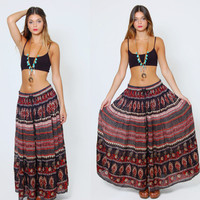 Vintage 90s INDIAN Maxi Skirt Long CRINKLE Skirt Boho Ethnic Print Festival Skirt
