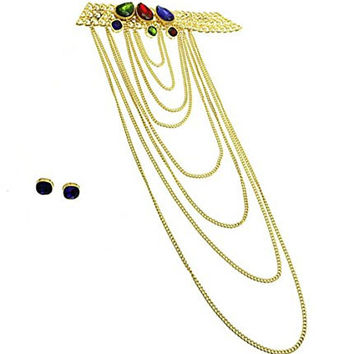 "Chunky Goldtone Choker Colored Glass Beads Long Layered Chains Necklace and Earrings, 15+3"" Ext."