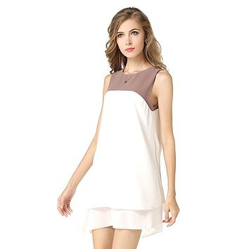 Scoop Sleeveless Ruffled Casual Patchwork Lovely Dress