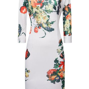 Streetstyle  Casual Round Neck Floral Printed Courtly Bodycon Dress