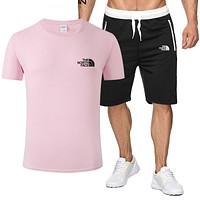 The North Face new tide brand breathable wild sports suit two-piece Pink