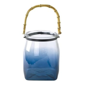 Bamboo Handle Glass Vase Blue