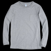 UNIONMADE - Velva Sheen - Tubular Long Sleeve Pocket Tee in Heather Grey