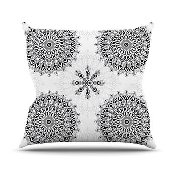 "Julia Grifol ""Black Mandala"" White Black Outdoor Throw Pillow"