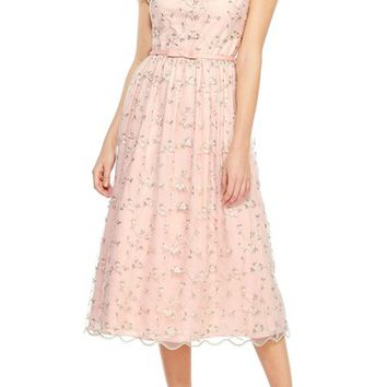 Gal Meets Glam Collection Penelope Baby Bud Embroidered Fit & Flare Midi Dress | Nordstrom