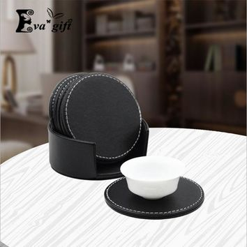 Two - color  high - grade PU leather material coaster coffee mat double - layer thick insulation Upscale cup mat set