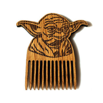 Star Wars Beard Comb Yoda Shaped Wooden Mustache Comb Gift idea Men For Him Fathers Day Gift Gift for Him Husband Gift Friend Gift