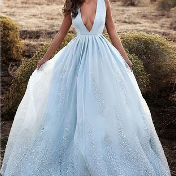 Baby Blue Elegant Long Prom Dresses Evening Dresses