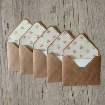 "Small envelopes 4""x3"" - set of 5 crafted envelopes with paper - brown envelope- light pink pastel roses gray cotton paper-europeanstreetteam"