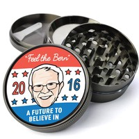 A Future To Believe In - Feel The Bern Deluxe Metal 5 Piece Herb Grinder With Fine Screen - Create Your Own Grinder!