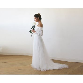 Ivory Off-The-Shoulder Lace and Tulle Train Wedding Gown