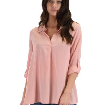 SL4183 Pink Long Roll-Up Sleeve Shirt