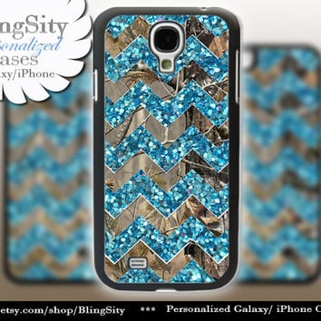 Camo Sparkle Chevron Galaxy S4 case S5 Aqua teal Real Tree Camo Deer Personalized RealTree Samsung Galaxy S3 Case Note 2 3 Cover
