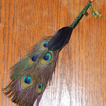 Feather Besom Broom or Smudge Wand - Peacock Feathers with Jade Beads, Owl Charm, and Genuine Peridot - Wiccan Besom - OOAK - Free Shipping