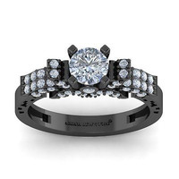 AMAZING 2.25CT WHITE ROUND 925 BLACK STERLING SILVER ENGAGEMENT RING FOR HER