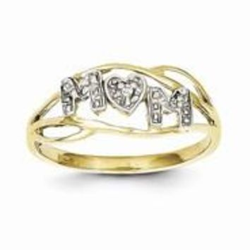 10k Yellow Gold & Rhodium Mom Ring