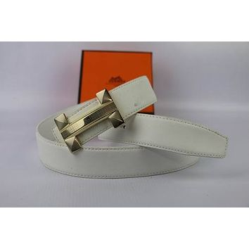 HERMES Woman Men Fashion Smooth Buckle Belt Leather Belt