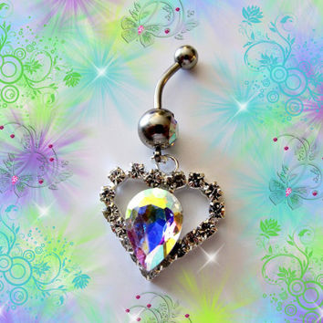 SALE-Belly Ring, Aurora Borealis Teardrop Crystal Heart, Belly Button Jewelry, For Her