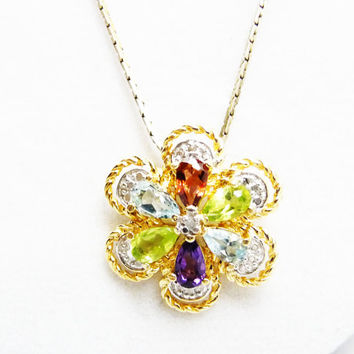 Sterling Gemstone Flower Pendant & Chain Necklace - Amethyst, Citrine, Garnet and Blue Topaz - Gold Overlay Vintage Gemstone Pendant
