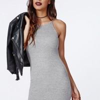 Missguided - Tessie 90's High Neck Ribbed Midi Dress Grey