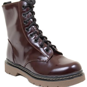 Soda Grunge Vegan Womens Lace up Military Style Mid Calf Combat Boots