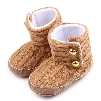 Infant Toddler Baby Boys Girls First Walkers Keep Warm Baby Shoes Booty Newborn Baby Crib Snow Knitting Solid Shoes NW