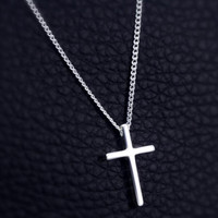 Womens 925 Sterling Silver Cross Pendant Necklace Girls Superior Quality Christmas Necklace Gift 89