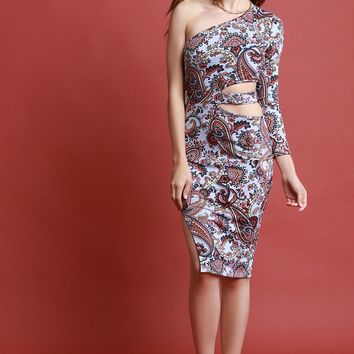 Side Cutout Paisley One-Shoulder Dress