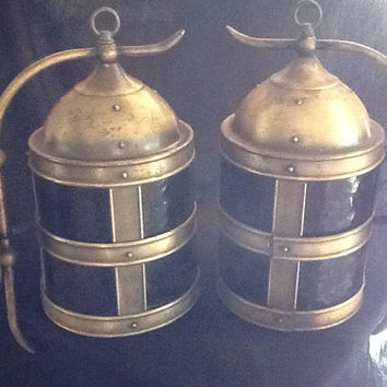 Vintage Virden Co Large Pair Nautical Brass Inside or Outside Wall Light Sconces Spanish Revival