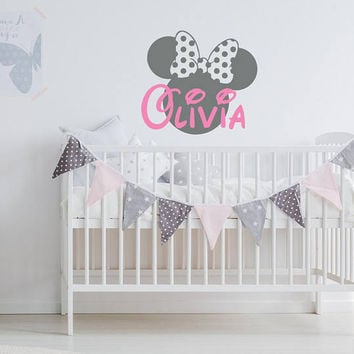 Nursery Name Wall Decal- Minnie Mouse Wall Decals, Personalized Baby Name Decal, Minnie Mouse Inspired Wall Decal, Minnie Mouse Nursery K28