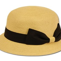EH1641LC - Womens 100% Paper Straw Ribbon Bow Accent Cloche Bucket Bell Summer Hat - Natural/One Size