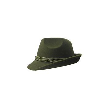 Tirol Green Fedora Felt Hat with Deluxe Hat Feather