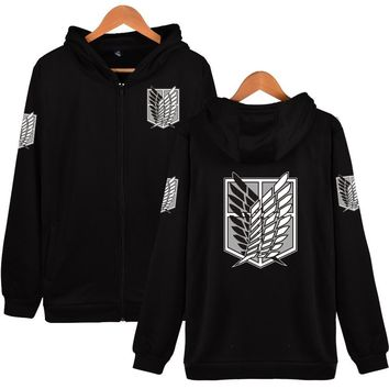 Japan Anime Attack On Titan Hoodies Sweatshirts Coat Halloween Party Eren Hoodies Costume Legion Clothing Zipper Hoodies