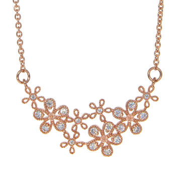 Dear Deer Rose Gold Plated Floral Flower CZ Pendant Necklace