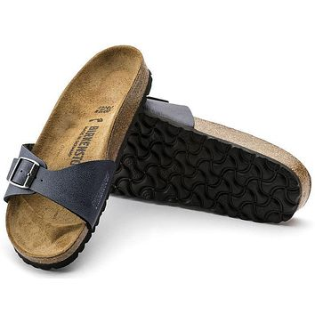 Best Online Sale Birkenstock Madrid Birko Flor Pull Up Navy 1001469/1001470 Sandals
