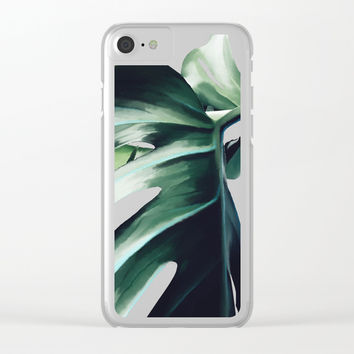 Monstera Deliciosa Clear iPhone Case by Lostanaw