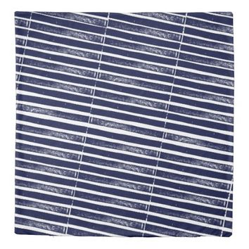 Navy blue Grunge Textured Striped Duvet Cover