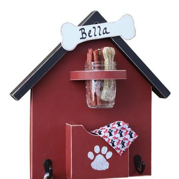 Personalized Dog Leash Holder, Doggie Treat Mason Jar