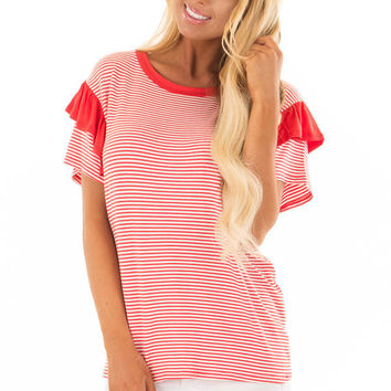 Poppy Red Striped Short Sleeve Top with Ruffle Sleeves