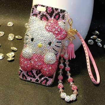 For Samsung Galaxy S3 S4 S5 S6 S7 Edge S8 S9 Plus Note 2 3 4 5 8 Neo G530 PC+ TPU Hello Kitty full Rhinestone Case